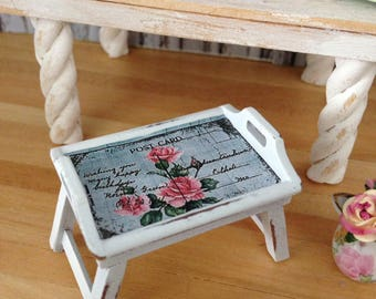 Dollhouse Miniature Shabby Chic White Wooden Breakfast Serving Tray