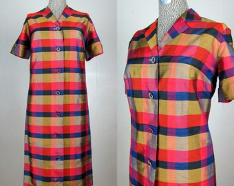 Vintage 1960s Plaid Silk Dress 60s Silk Dupioni Plaid Shirt Style Shift Dress Size L
