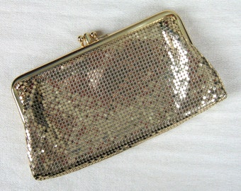 Vintage 1960s Gold Mesh Clutch 60s Whiting & Davis Evening Bag or Wallet