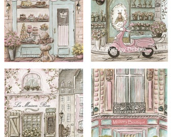 Personalised Girl Nursery Prints, Dreamy Parisian Set Of 4 Watercolor Prints For Paris Themed Nursery Wall Decor, Baby Shower Gift, 6 Sizes