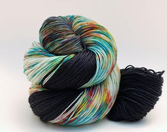 Hand Dyed Fingering/Sock Yarn, 75/25 Super Wash Merino/Nylon, knitting Yarn, Sprinkled Black
