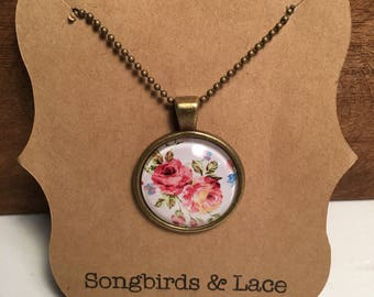 Pink and White Floral Pendant Necklace on bronze setting- 25mm