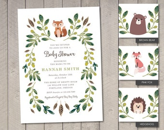 Woodland Baby Shower Invitation (Printable) by Vintage Sweet