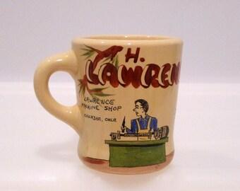 Coffee Mug Vintage Hand Painted Ceramic China Cup Drinking Glass Solid Handle Chickasha OK Folk Art Potters Wheel Corona Del Mar California