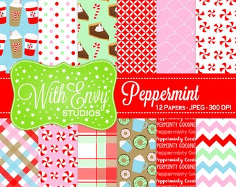 SALE  Peppermint Digital Paper - Winter Scrapbook Paper - Candy Cane Digital Paper - Red and White Paper - Personal & Commercial Use