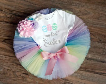 """Baby girl first Easter outfit """"Kaylyn"""" pastel Easter outfit for baby girl, first Easter outfit, pastel tutu, Newborn Easter outfit, tutu"""