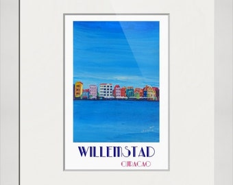 Willemstad Curacao Waterfront in Blue Caribbean - Antilles - Retro Poster Fine Art Print