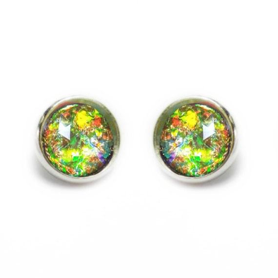 Maroon Fire Opal Post Earrings