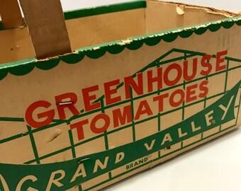 Vintage Produce Basket Farm Market Tomatoes Michigan Greenhouse Grown Vegetable Crate Cardboard Bushel Box handle Rustic Primitive Farmhouse
