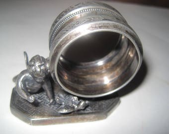 Antique Quadruple Silver Plate Figural Napkin Ring Stand w/Cherub & Bird