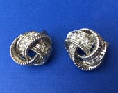 Pretty Vintage Rope Twist Style Clip on Silver Toned Earrings