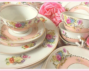 Five Piece Set Vintage Harmony House China, Sears Harmony House, Mother's Day Gift, Birthday Gift, Teacups, Teaparty, Pink Vintage China