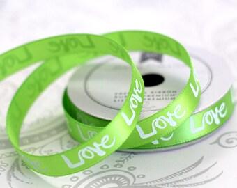 Lime Love Satin 3/8 -- 4 feet -- Amy Tangerine -- American Crafts
