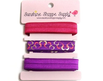 Think Spring Sale 25% off Fold Over Elastic (FOE) 3 Color Bundle, Satin Elastic for Headbands and Hair Ties - Foil Hearts