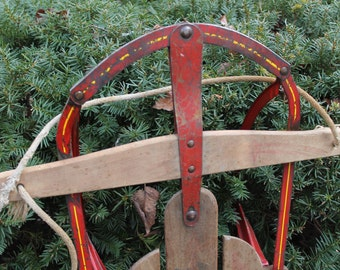 Vintage Flying Arrow Sled // Red Metal Wood Sled // Snow Sled // Christmas Decor // Prop