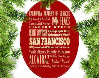 San Francisco, California Christmas Ornament