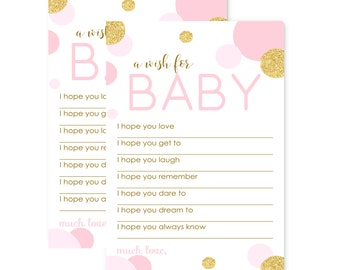 Blush & Gold Wishes for Baby Shower Game - Girls Advice - Fill-In Activity - Sprinkle - Shimmer - Abstract Wish - 20pc. Paper Set