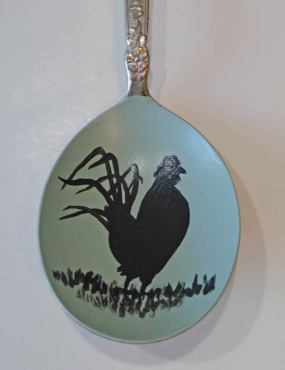 Rooster, Painted metal spoon, mint green, Collectible Painted Spoon, farm art, black silhouette, Small Gift, bird art, home decor, ornament