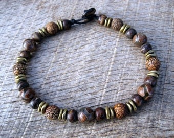 Mens surfer bracelet, etched agate dzi, dyed bone and metal beads, handmade beaded bracelet, natural materials on strong cord, toggle clasp