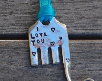 ELEPHANT Ornament I Love You with Hearts on Teal Ribbon made from Vintage Fork recycled up cycled