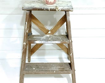 Vintage Rustic Farmhouse Ladder Shabby Chic Step Ladder White