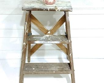 Vintage Rustic  Wood Ladder Farmhouse Ladder Step Ladder White