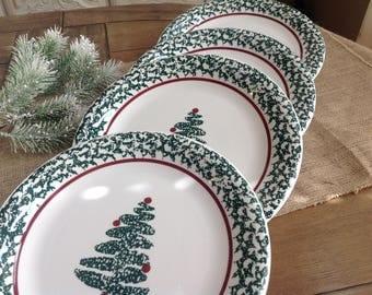 "Set of 4 Furio Sponge Tree Christmas Dinner Plates 10 1/2"""