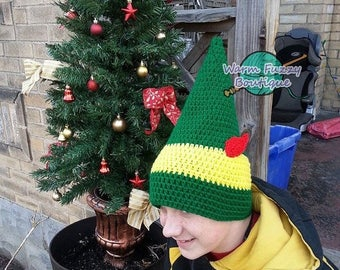 SALE 20% OFF Buddy the Elf Inspired Hat - Crochet Newborn Boy Girl Costume Halloween Photo Prop Christmas Gift Winter Outfit Baby Adult Chil