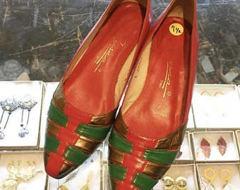 Vintage 80s egyptian colored flats by Caressa  Made in Spain