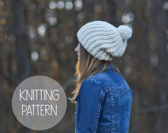 knitting pattern slouchy pom hat toque pattern - the Rapids beanie