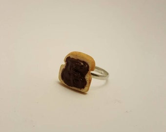 SALE - Nutella on Toast Ring - Handmade Polymer Clay
