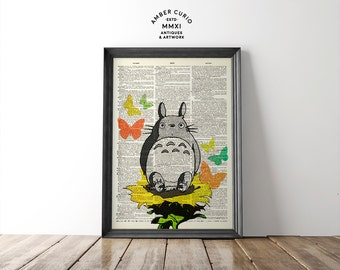 Totoro In The Garden Butterfly Sunflower Collage Studio Ghibli Print on an Unframed Upcycled Bookpage