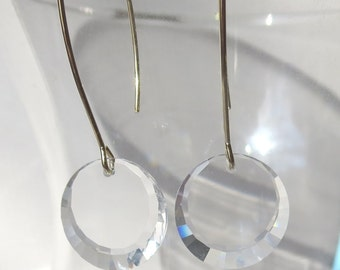 Clear Crystal Disc  Earring on Long Gold Earwires