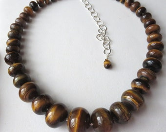 Golden Tigers Eye Graduated Necklace with Sterling Silver