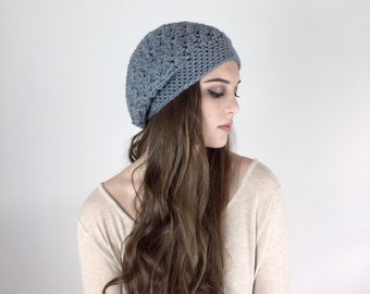 Beret Style Hat Slouchy Beanie Crochet  HDC Hat Silver Gray or Choose Your Color