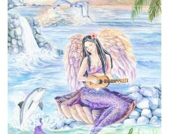 Mermaid Art print, Pacific Angel-Mermaid, Hawaiian Mermaid playing Ukulele,Dolphins,Giant Clam,Sunrise,Yellow fish  8 x10 art print