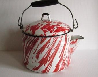 Vintage Enamelware Tea Kettle Red Swirl