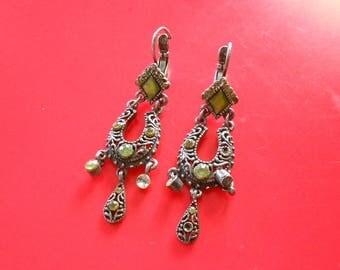 Vintage pierced earrings.  Enamel and faceted green stones.