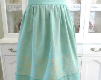 Vintage Handmade Apron, Womens Half Apron, Green Linen w Yellow Cross Stitching, Waist Apron, Vintage Apparel by TheSweetBasilShoppe