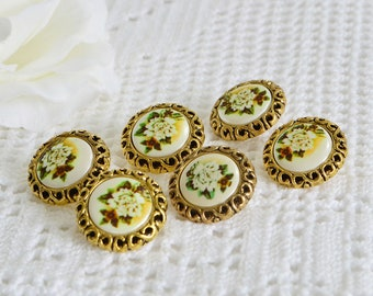 Flower buttons, vintage golden plastic seventies supply, haberdasher supplies, set with six