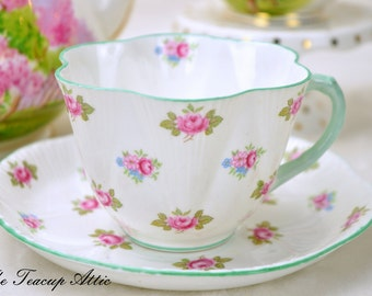 Shelley Teacup And Saucer Set Rosebud Pattern 13526,  English Teacup, Wedding Gift, Fluted Teacup,  ca. 1945-1966