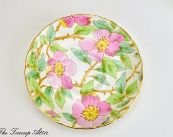 Tuscan Pink Replacement Saucer With Dogwood Flowers, English Bone China Chintz Saucer Only, British Columbia Dogwood #C8245 J,  ca. 1947
