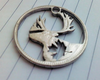 Caribou with maple leaf. Canadian Moose  Cut coin pendant necklace charm. Coincraft by invicia
