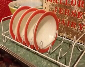 Plate Rack White Kitchen Wire Rubber Vintage
