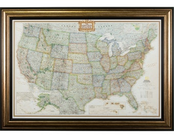 executive united states push pin travel map aged copper and black frame 24x36 inch 0022436map01a