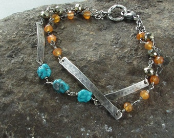 Hammered Silver Bar Bracelet, Beaded Bracelet, Delicate Gemstone Bracelet, Turquoise Bracelet, Silver Gemstone Bracelet, Artisan Jewelry