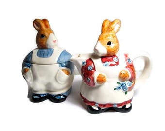 Vintage Otagari Rabbit Couple Bunny Creamer and Sugar 1980s