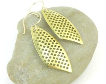 Brass Filigree Earrings, 14K Gold Filled Handmade Ear Wires, Gift Under 25, Gold Dangle Earrings, Gift for Her, Statement Earrings