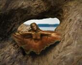 Reserved for Bonnie, Jan. 3 of 3, Mermaid, Angel, Clam Shell Goddess, Altar Bowl Sculpture by Shapingpirit, Debra Bernier