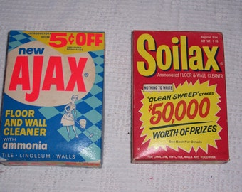Vintage Boxes of  Soilax and Ajax....1960's Soap Cleaning Products..